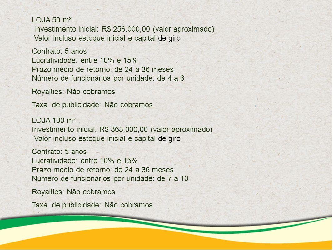 LOJA 50 m² Investimento inicial: R$ 256.000,00 (valor aproximado)