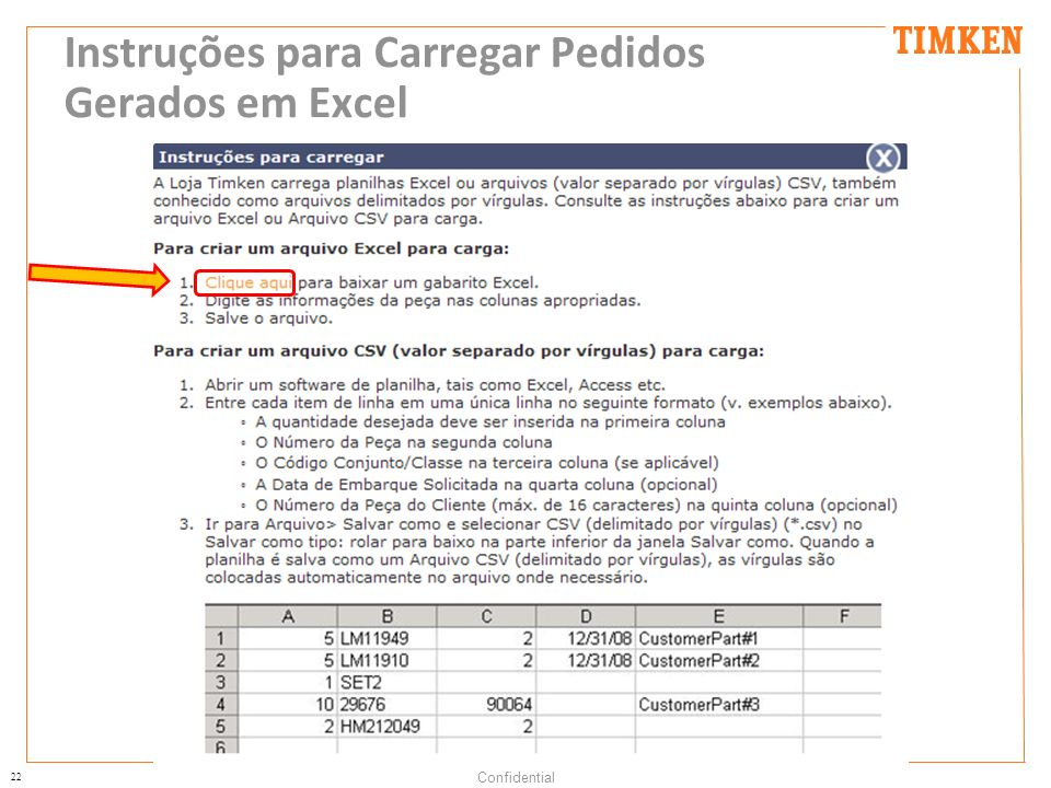 Instruções para Carregar Pedidos Gerados em Excel