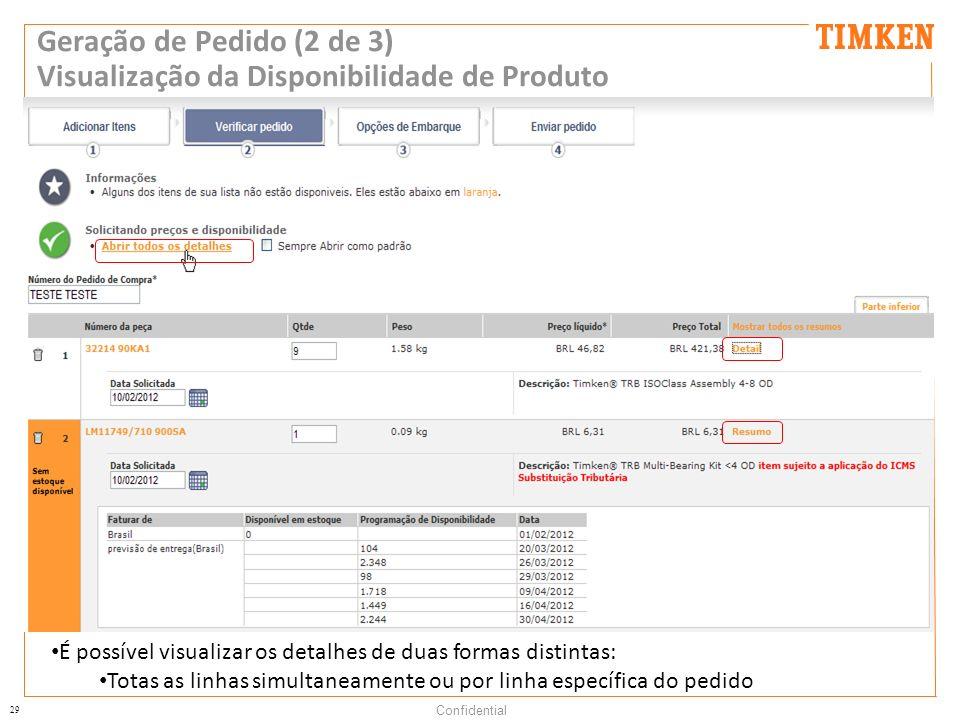 Geração de Pedido (2 de 3) Visualização da Disponibilidade de Produto