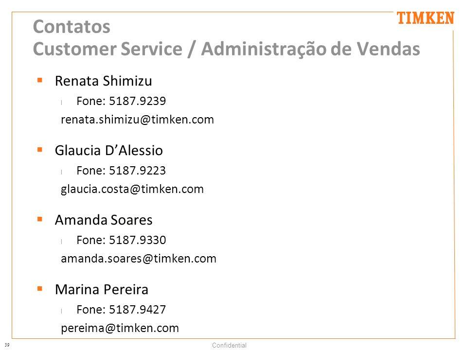 Contatos Customer Service / Administração de Vendas