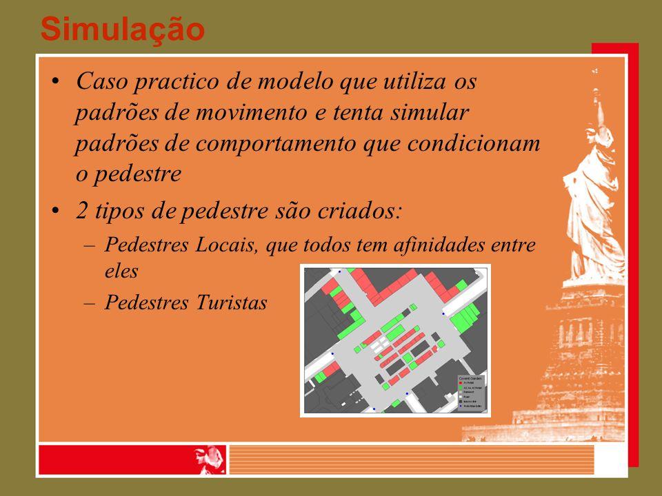 Simulação Caso practico de modelo que utiliza os padrões de movimento e tenta simular padrões de comportamento que condicionam o pedestre.