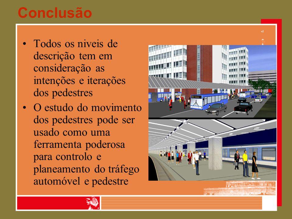 Conclusão Todos os niveis de descrição tem em consideração as intenções e iterações dos pedestres.
