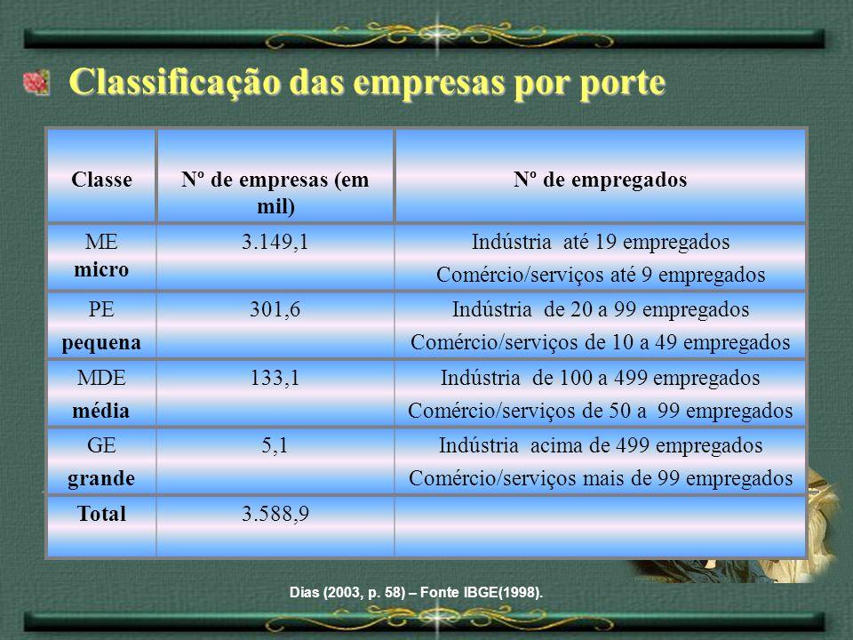 Classificação das empresas por porte