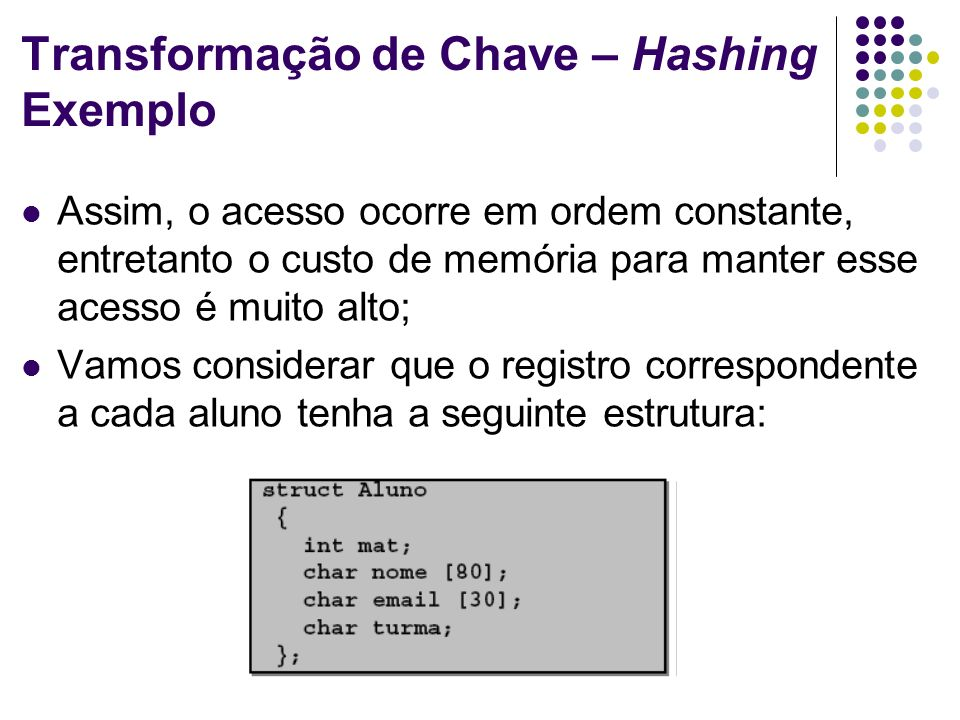 Transformação de Chave – Hashing Exemplo