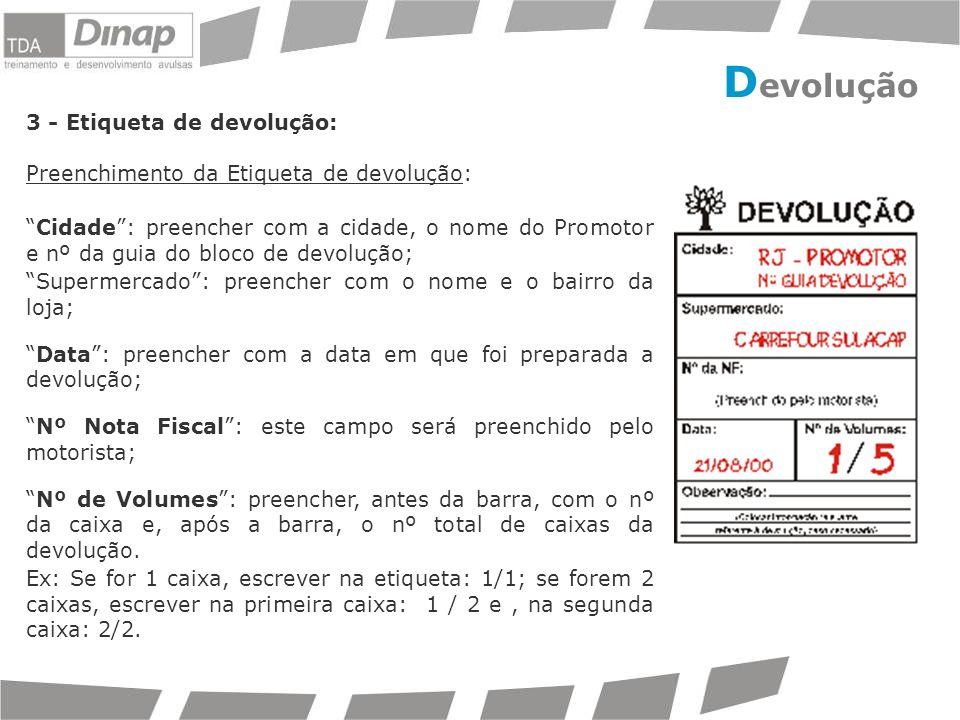 Devolução 3 - Etiqueta de devolução: