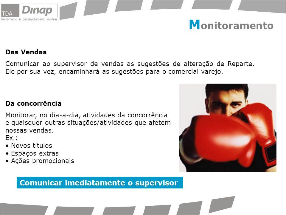 Monitoramento Comunicar imediatamente o supervisor Das Vendas