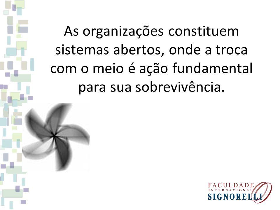 As organizações constituem sistemas abertos, onde a troca com o meio é ação fundamental para sua sobrevivência.