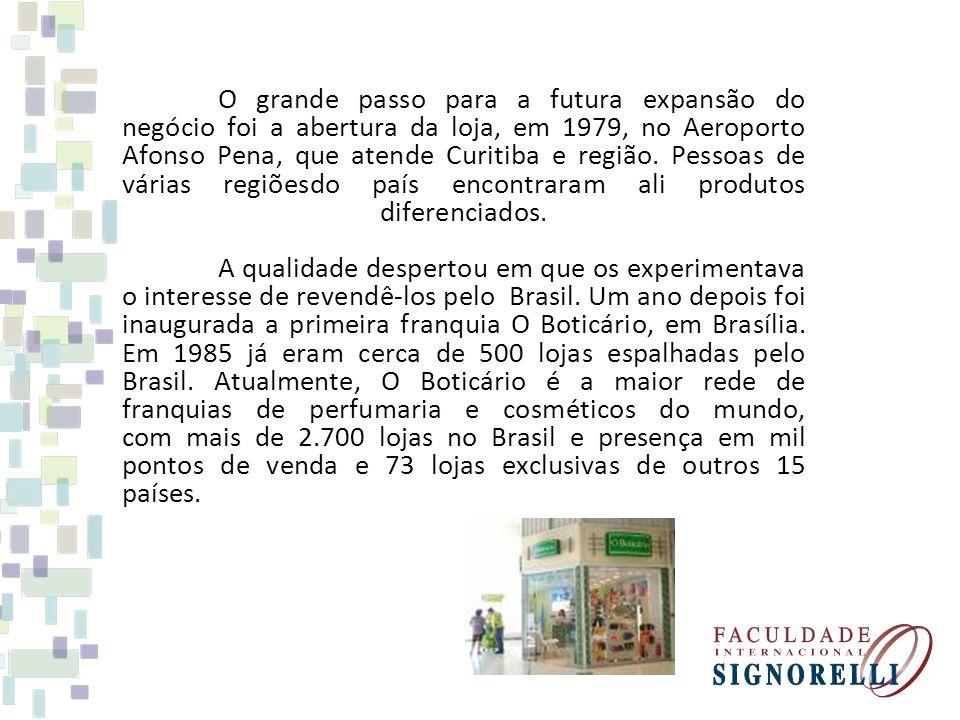 O grande passo para a futura expansão do negócio foi a abertura da loja, em 1979, no Aeroporto Afonso Pena, que atende Curitiba e região.