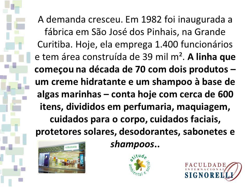 A demanda cresceu. Em 1982 foi inaugurada a fábrica em São José dos Pinhais, na Grande Curitiba.