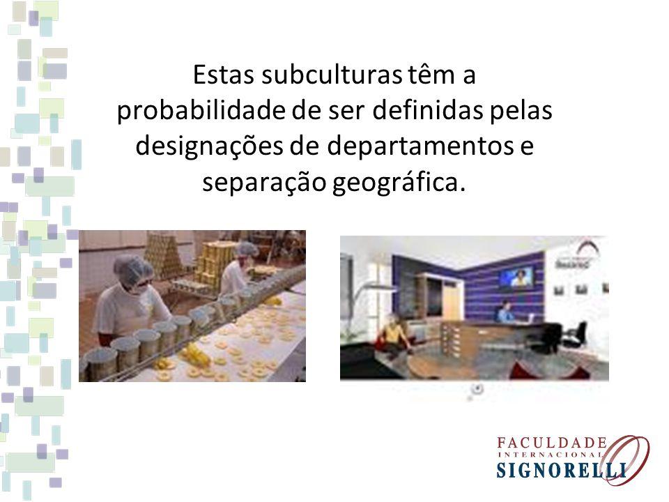 Estas subculturas têm a probabilidade de ser definidas pelas designações de departamentos e separação geográfica.
