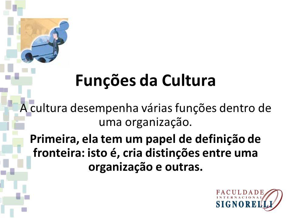 A cultura desempenha várias funções dentro de uma organização.