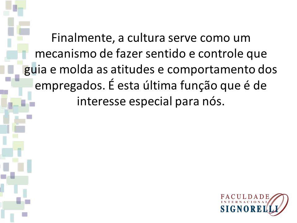 Finalmente, a cultura serve como um mecanismo de fazer sentido e controle que guia e molda as atitudes e comportamento dos empregados.