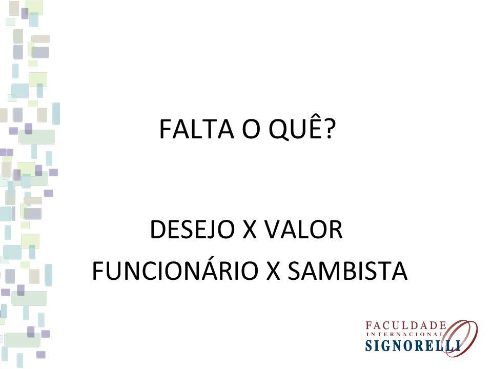 DESEJO X VALOR FUNCIONÁRIO X SAMBISTA