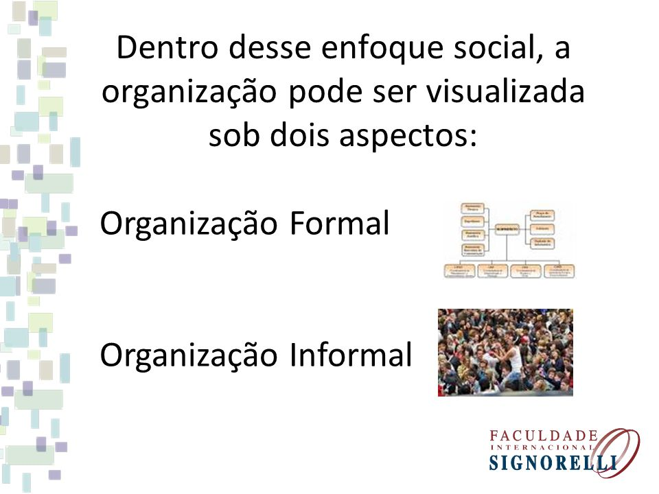 Dentro desse enfoque social, a organização pode ser visualizada sob dois aspectos: