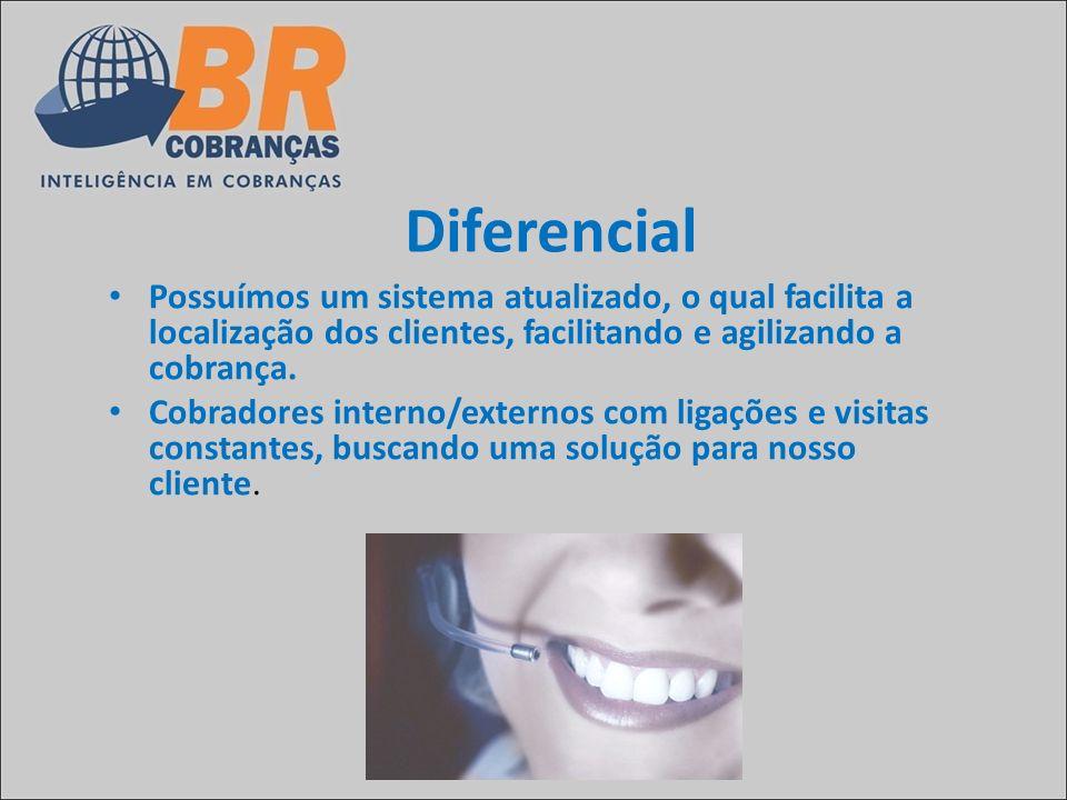Diferencial Possuímos um sistema atualizado, o qual facilita a localização dos clientes, facilitando e agilizando a cobrança.