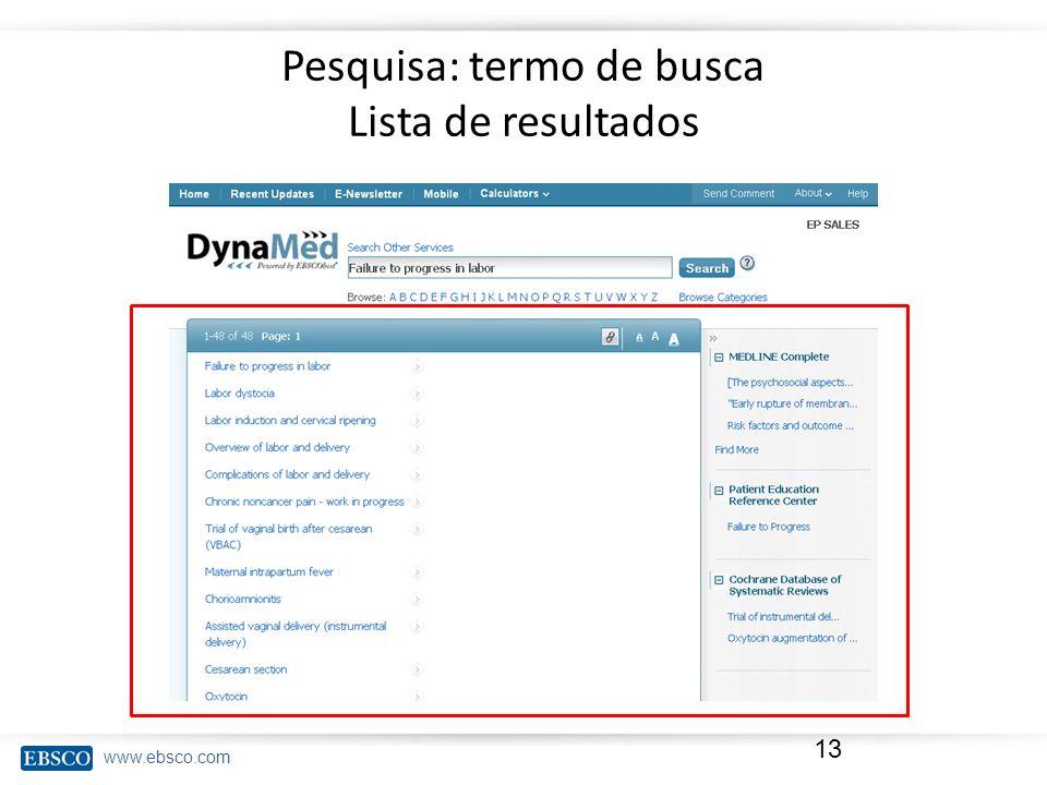 Pesquisa: termo de busca Lista de resultados