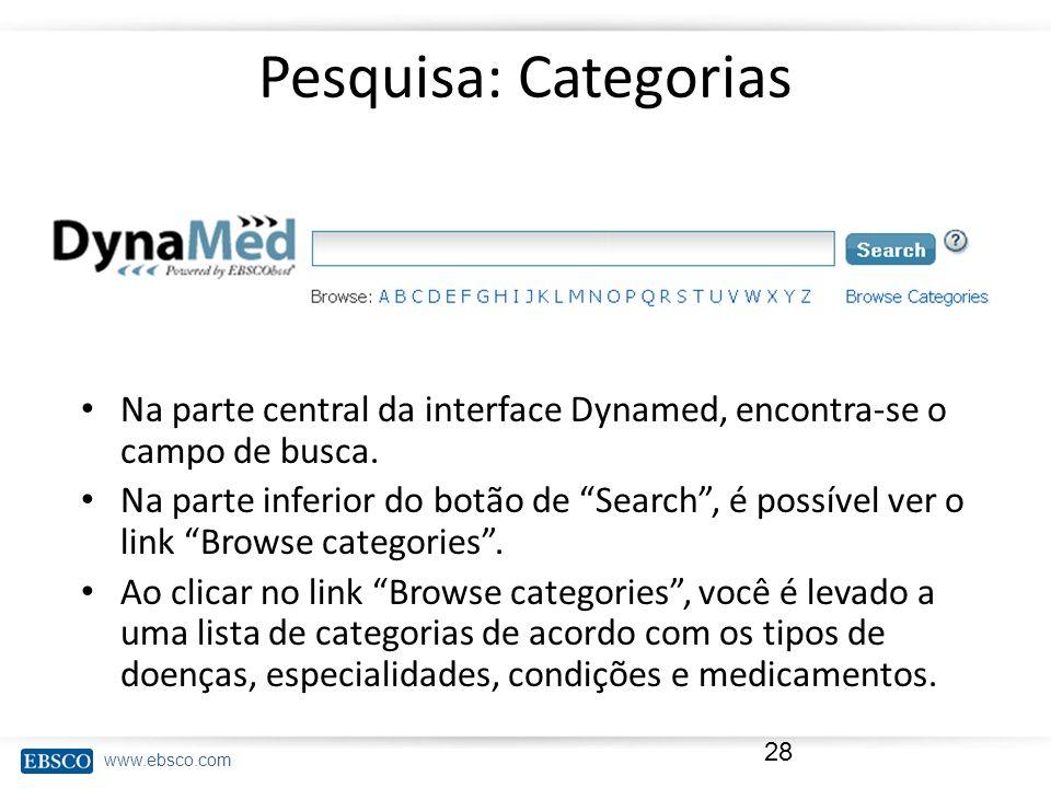 Pesquisa: Categorias Na parte central da interface Dynamed, encontra-se o campo de busca.