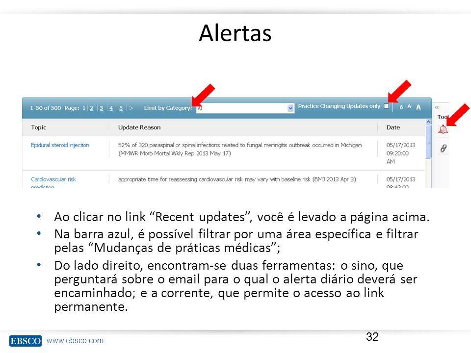 Alertas Ao clicar no link Recent updates , você é levado a página acima.