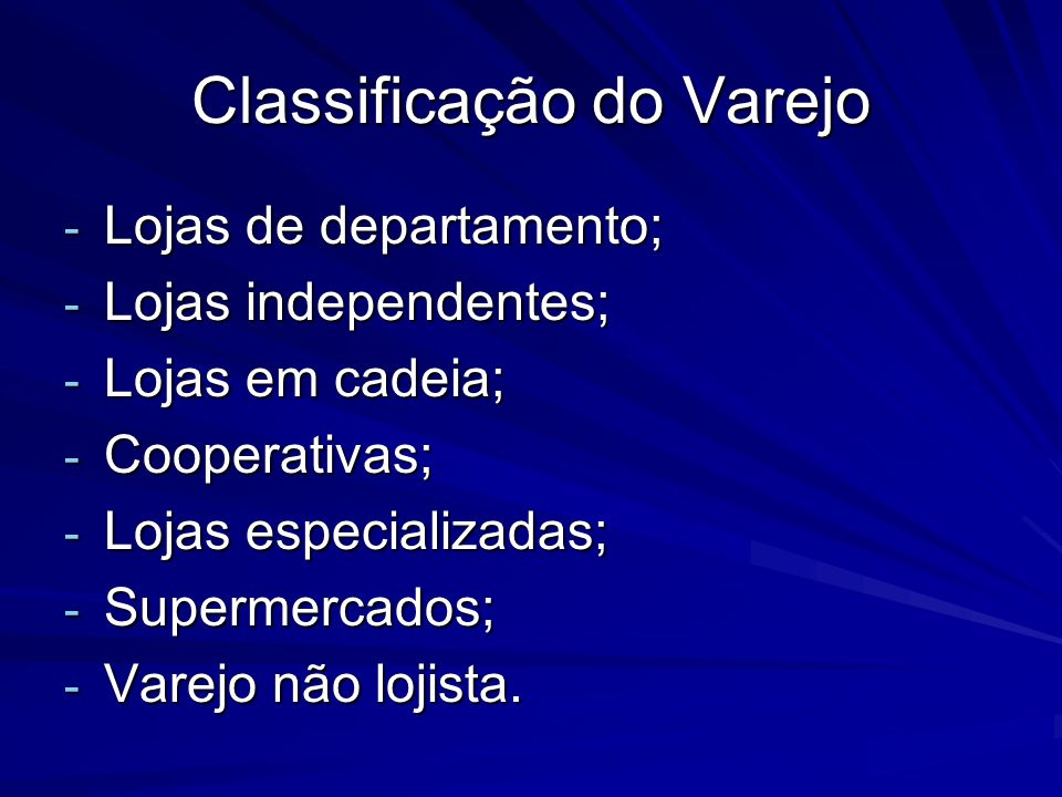 Classificação do Varejo