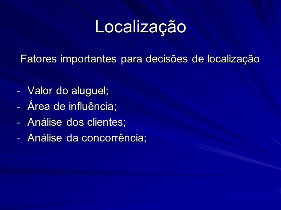 Localização Fatores importantes para decisões de localização