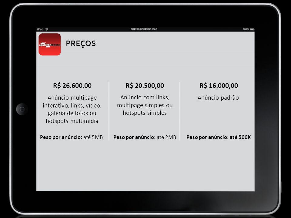 PREÇOS R$ 26.600,00. R$ 20.500,00. R$ 16.000,00. Anúncio multipage interativo, links, vídeo, galeria de fotos ou hotspots multimídia.