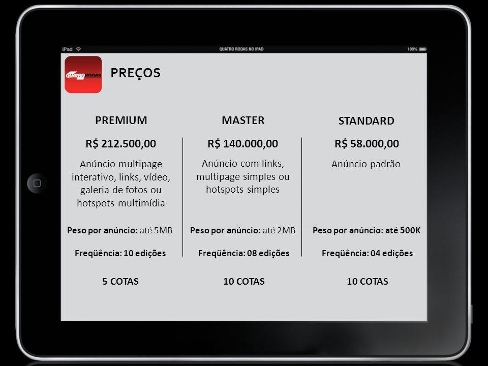 PREÇOS PREMIUM MASTER STANDARD R$ 212.500,00 R$ 140.000,00