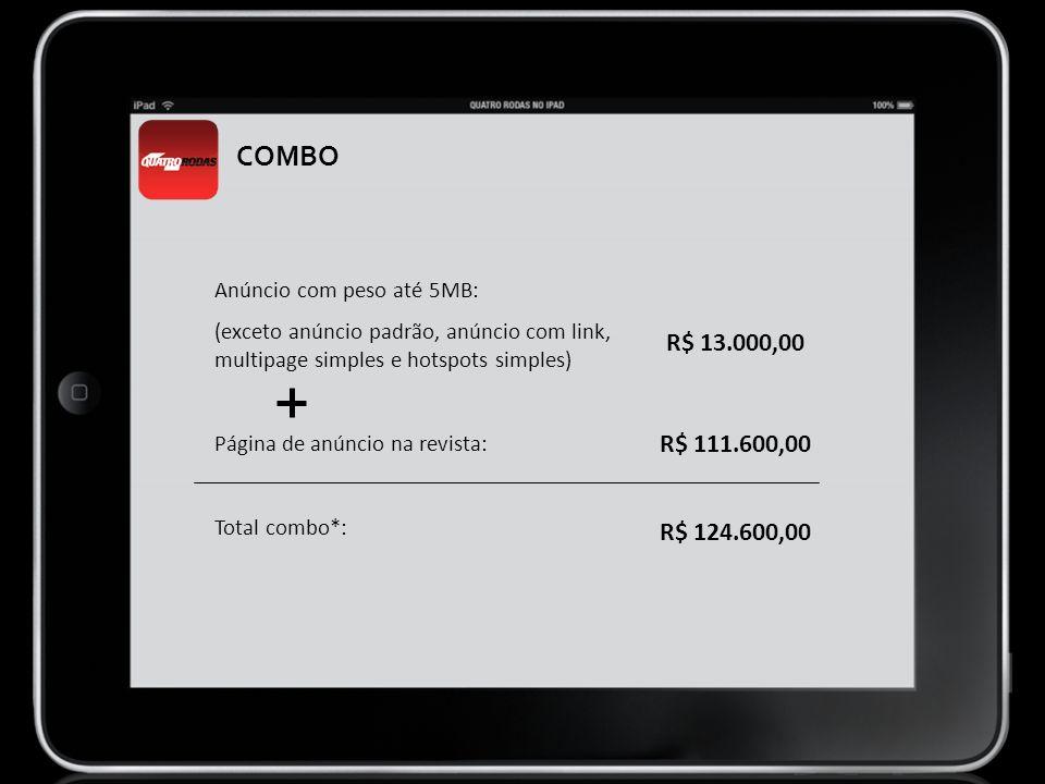COMBO Anúncio com peso até 5MB: (exceto anúncio padrão, anúncio com link, multipage simples e hotspots simples)