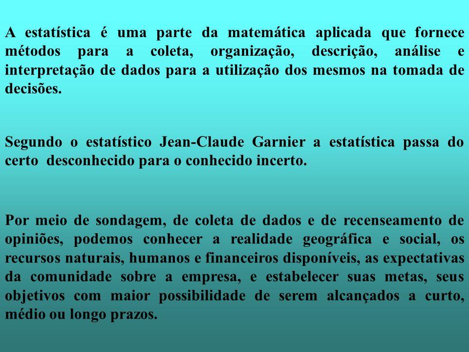A estatística é uma parte da matemática aplicada que fornece métodos para a coleta, organização, descrição, análise e interpretação de dados para a utilização dos mesmos na tomada de decisões.