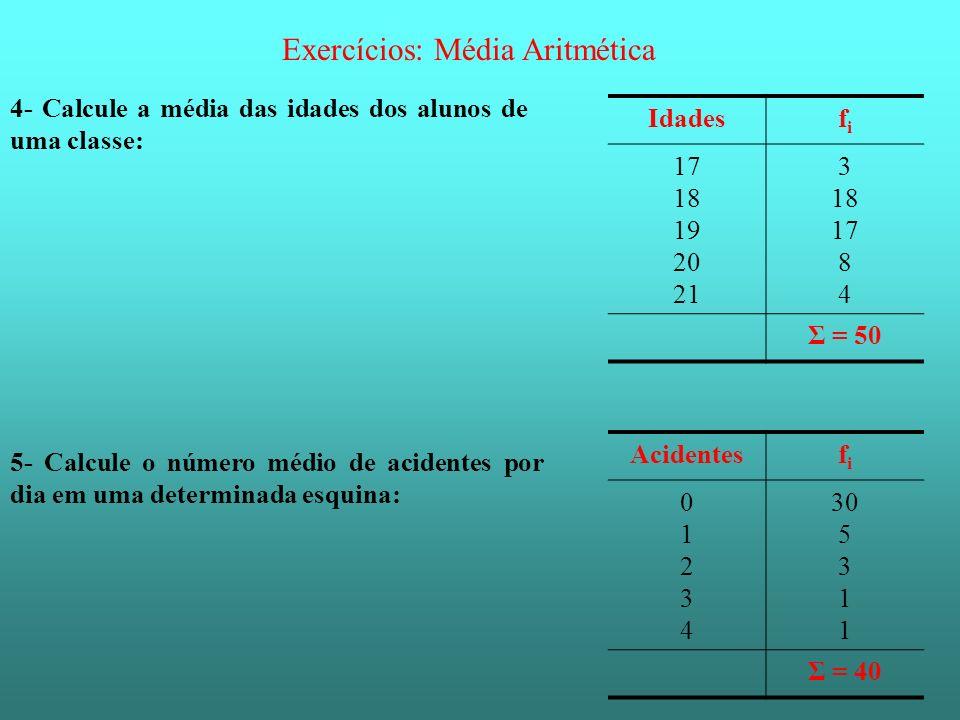 Exercícios: Média Aritmética