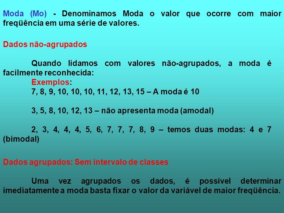 Moda (Mo) - Denominamos Moda o valor que ocorre com maior freqüência em uma série de valores.