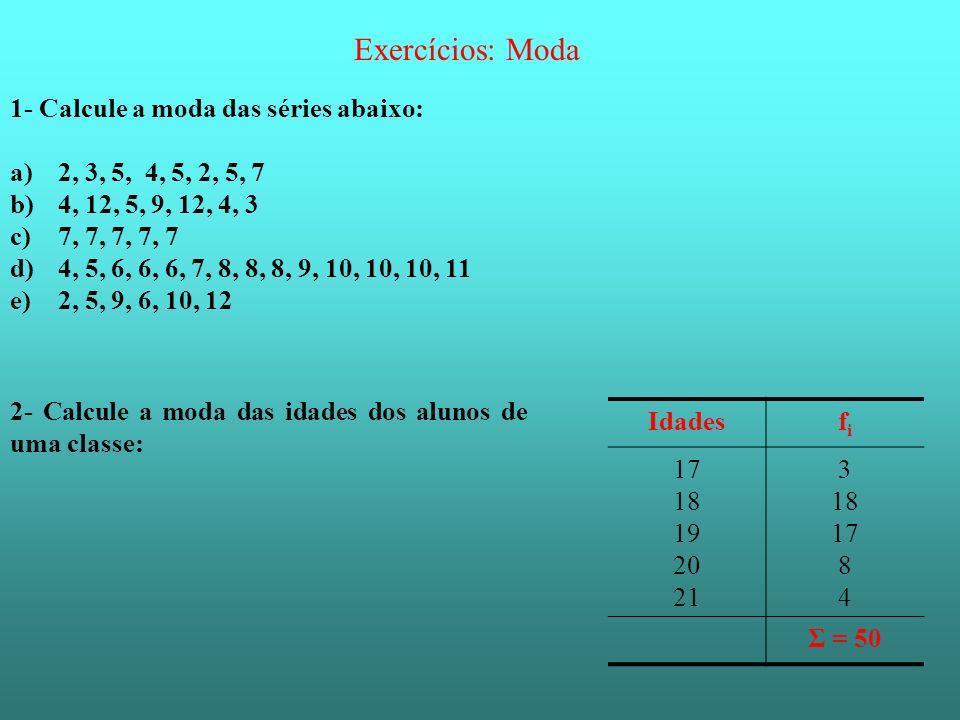 Exercícios: Moda 1- Calcule a moda das séries abaixo: