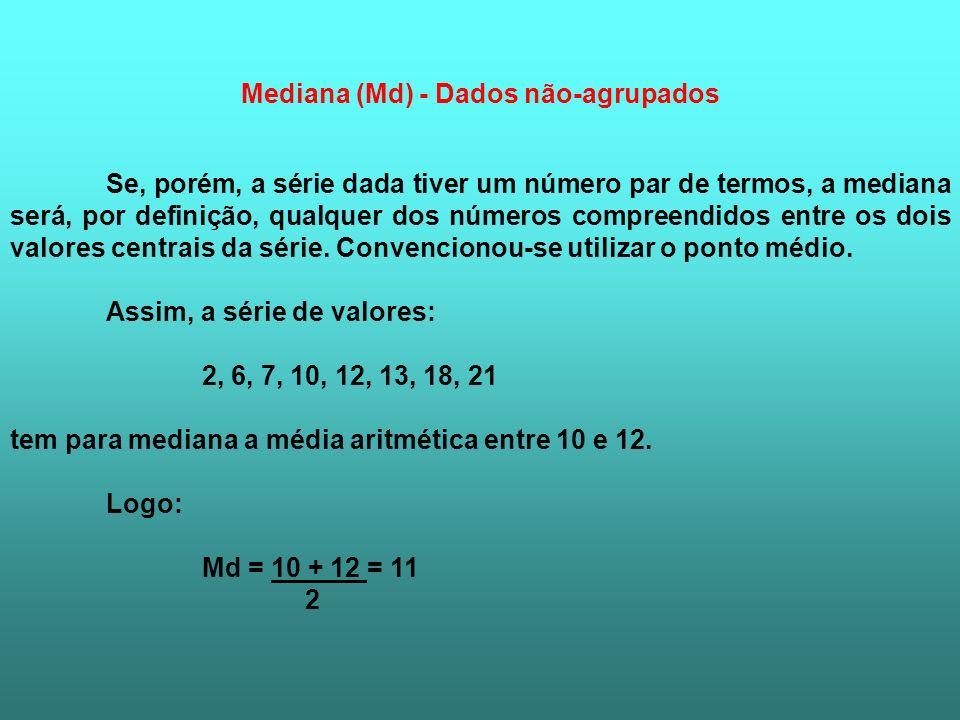 Mediana (Md) - Dados não-agrupados
