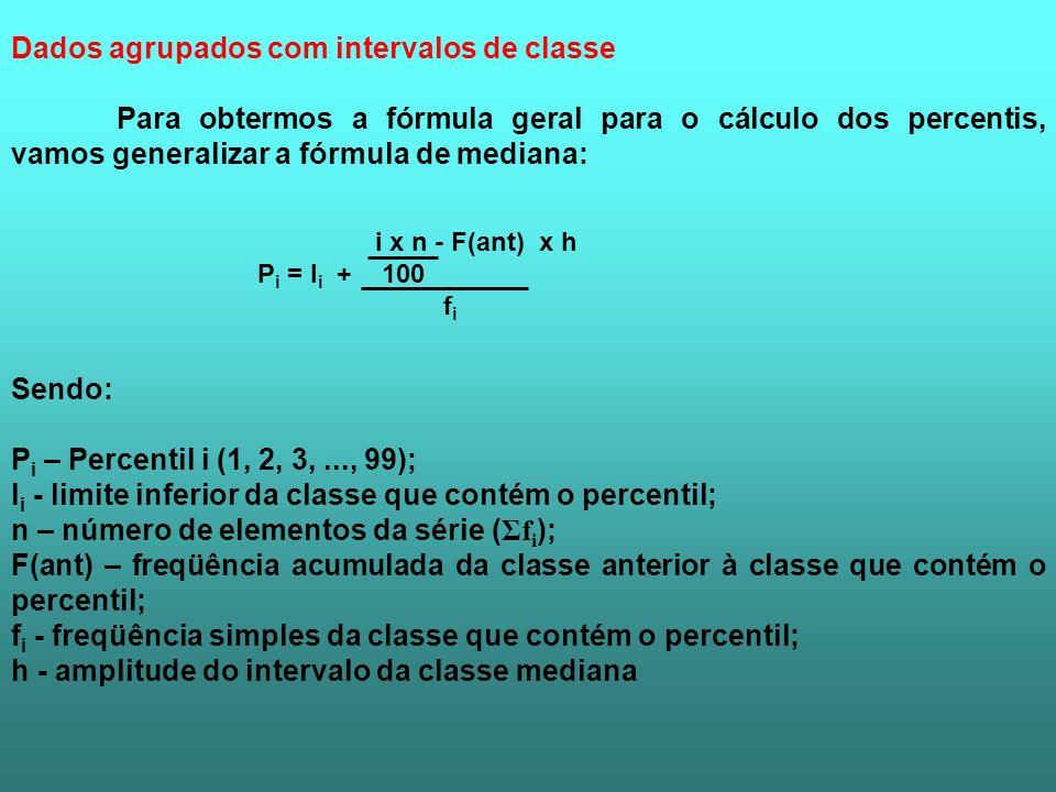 Dados agrupados com intervalos de classe