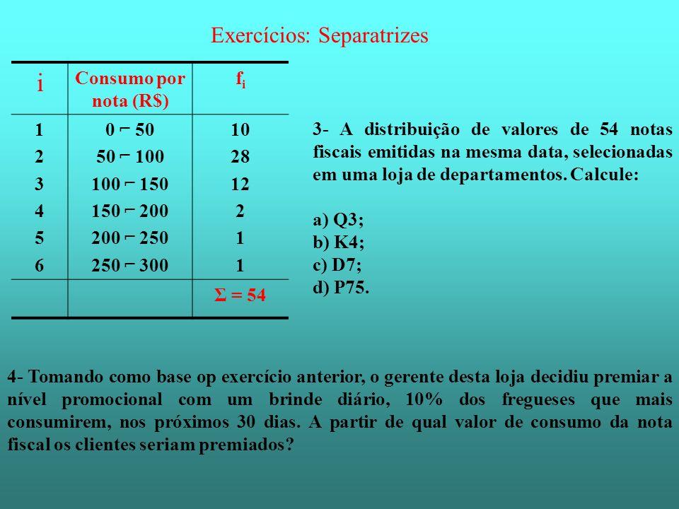 i Exercícios: Separatrizes Consumo por nota (R$) fi 1 2 3 4 5 6 0 ⌐ 50
