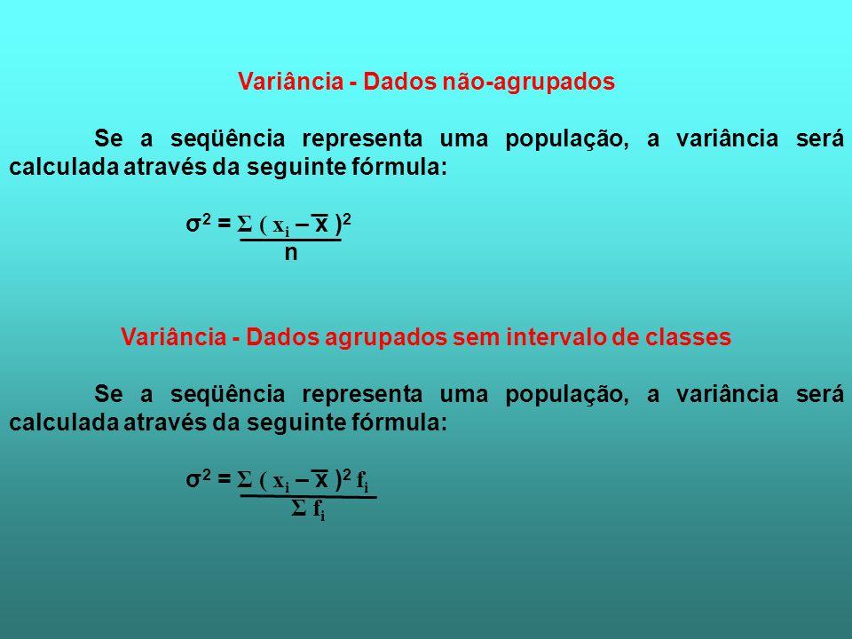 Variância - Dados não-agrupados
