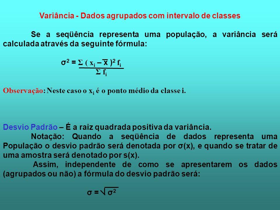 Variância - Dados agrupados com intervalo de classes