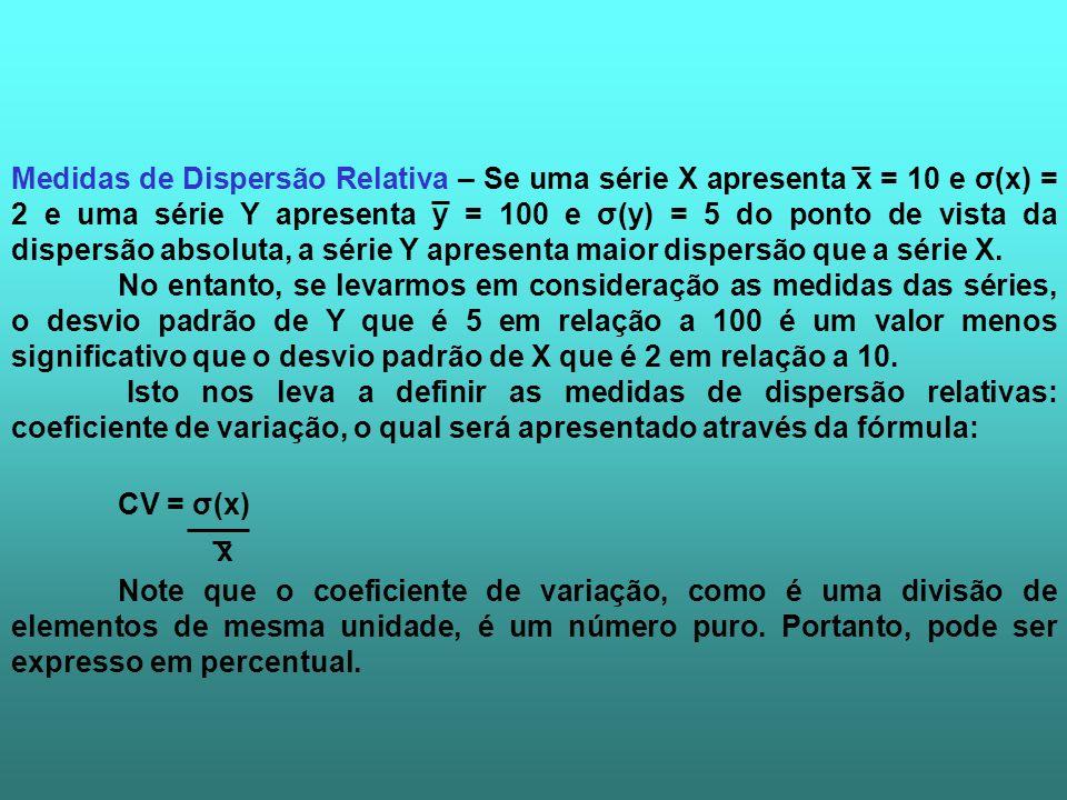 Medidas de Dispersão Relativa – Se uma série X apresenta x = 10 e σ(x) = 2 e uma série Y apresenta y = 100 e σ(y) = 5 do ponto de vista da dispersão absoluta, a série Y apresenta maior dispersão que a série X.