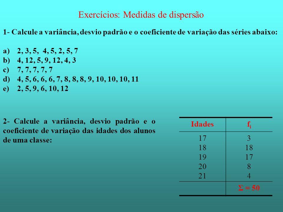 Exercícios: Medidas de dispersão