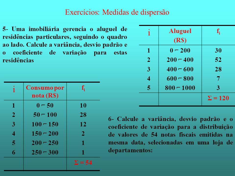 i i Exercícios: Medidas de dispersão