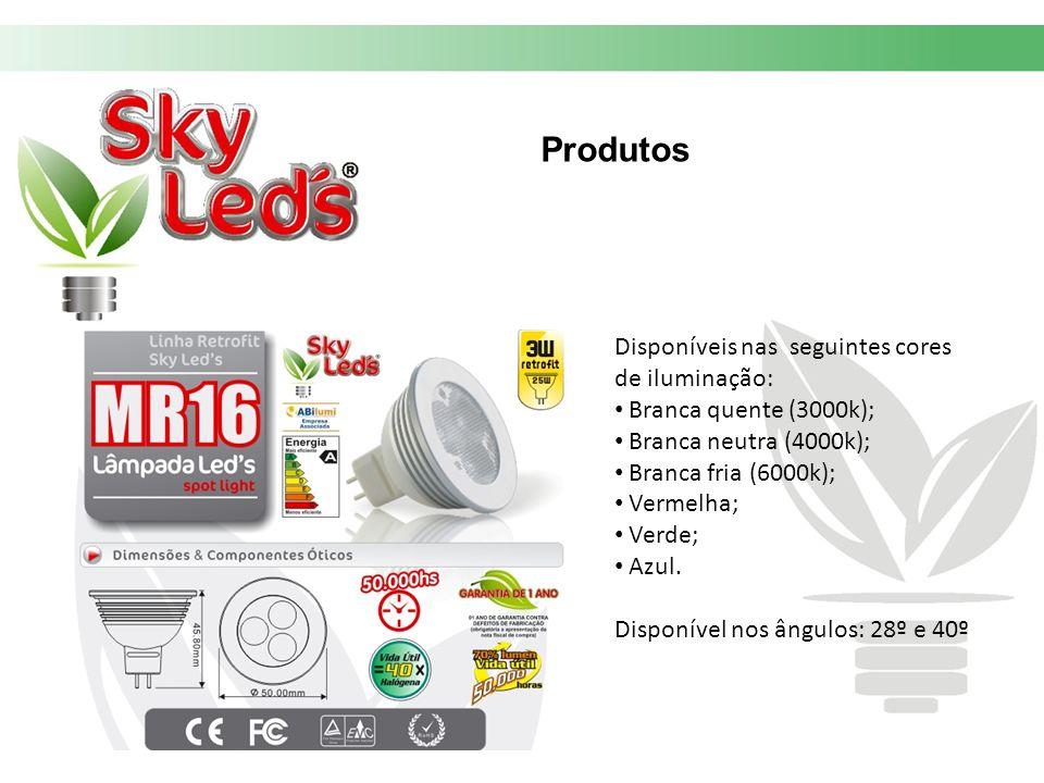 Produtos Disponíveis nas seguintes cores de iluminação: