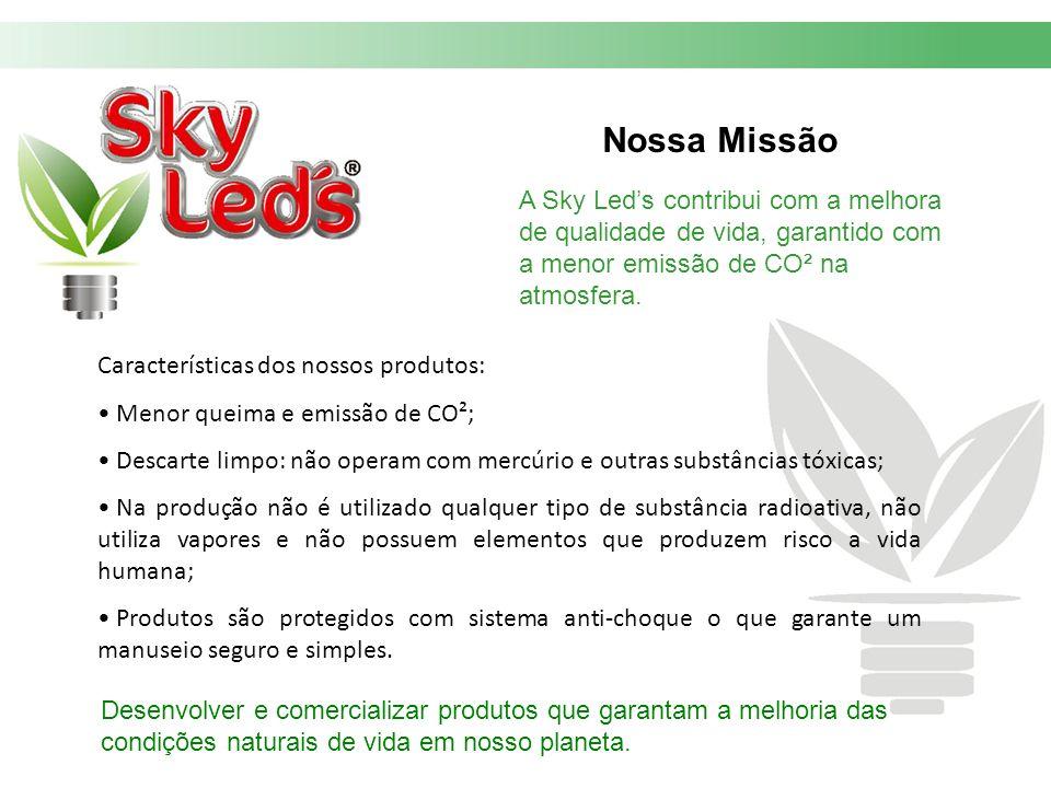 Nossa Missão A Sky Led's contribui com a melhora de qualidade de vida, garantido com a menor emissão de CO² na atmosfera.