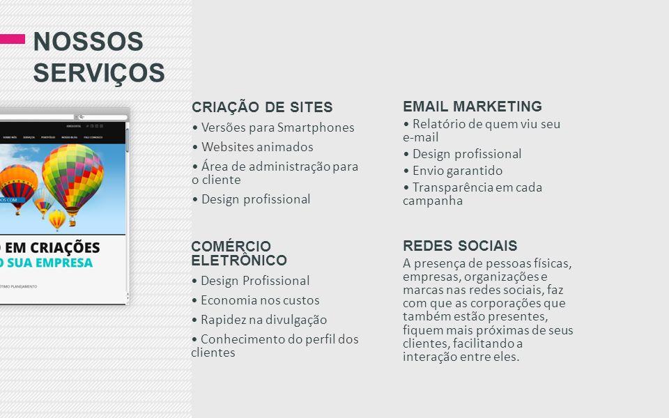 Nossos serviços CRIAÇÃO DE SITES EMAIL MARKETING COMÉRCIO ELETRÔNICO