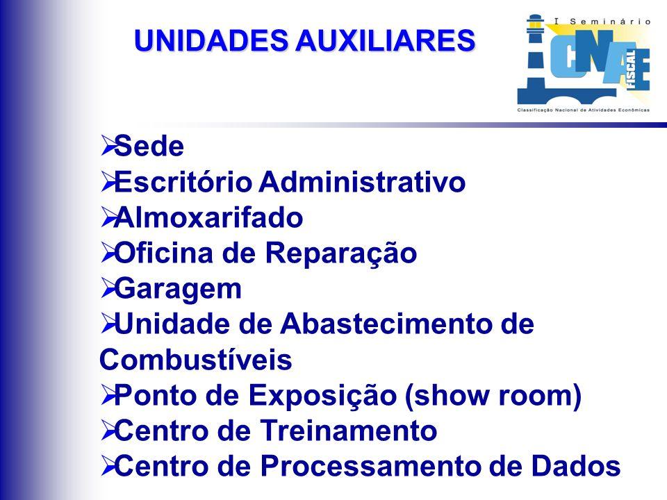 UNIDADES AUXILIARES Atividades de apoio administrativo ou técnico, exercidas no âmbito da empresa;