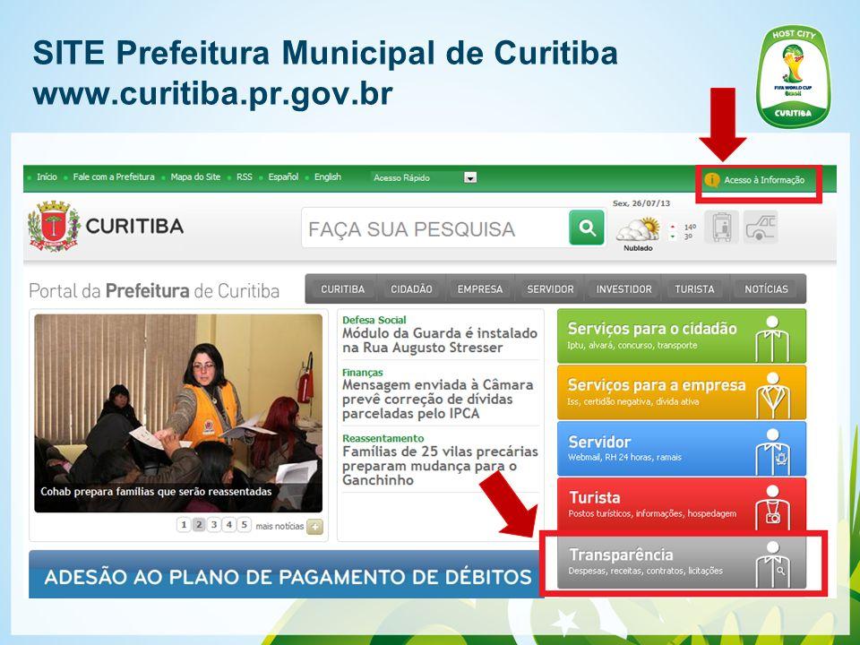 SITE Prefeitura Municipal de Curitiba www.curitiba.pr.gov.br