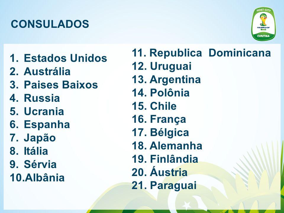 CONSULADOS 11. Republica Dominicana. 12. Uruguai. 13. Argentina. 14. Polônia. 15. Chile. 16. França.