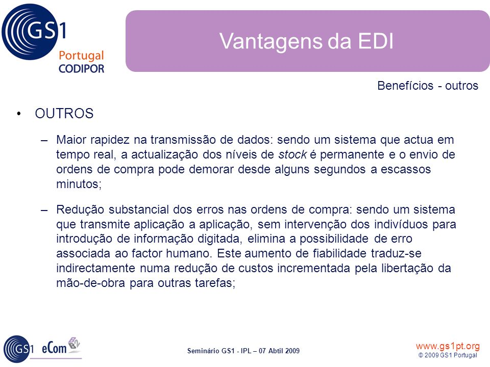 Vantagens da EDI OUTROS Benefícios - outros
