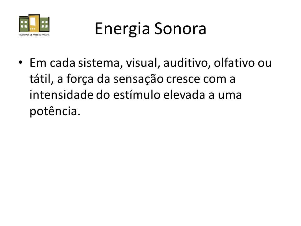 Energia Sonora Em cada sistema, visual, auditivo, olfativo ou tátil, a força da sensação cresce com a intensidade do estímulo elevada a uma potência.