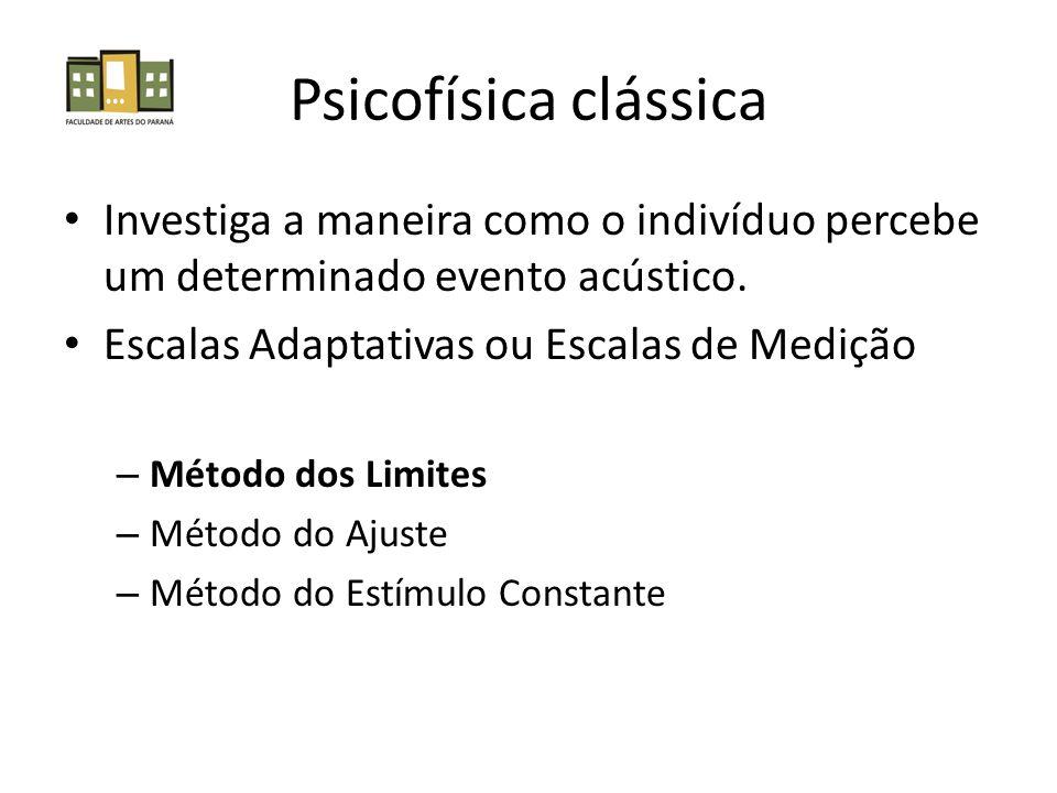 Psicofísica clássica Investiga a maneira como o indivíduo percebe um determinado evento acústico. Escalas Adaptativas ou Escalas de Medição.