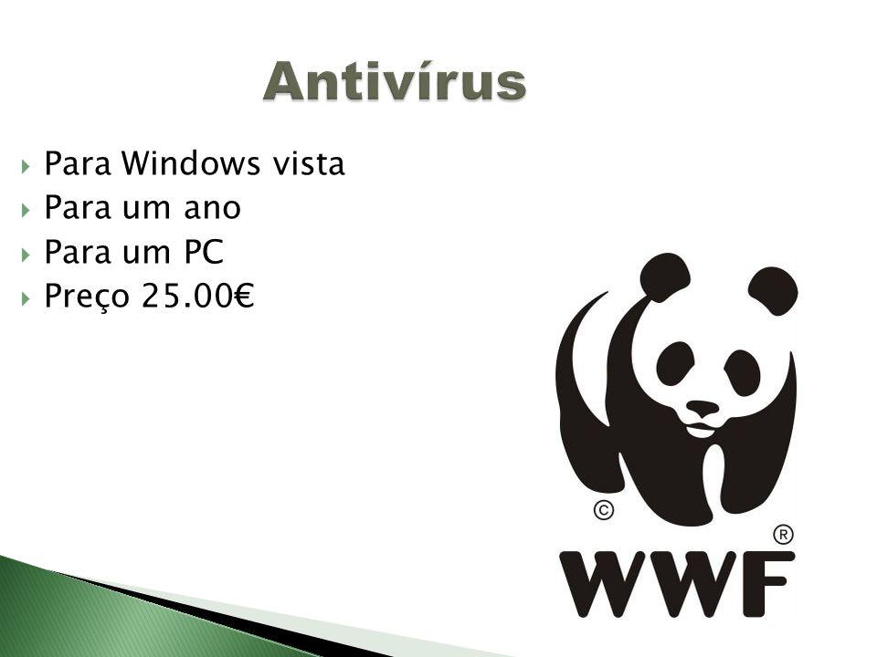 Antivírus Para Windows vista Para um ano Para um PC Preço 25.00€