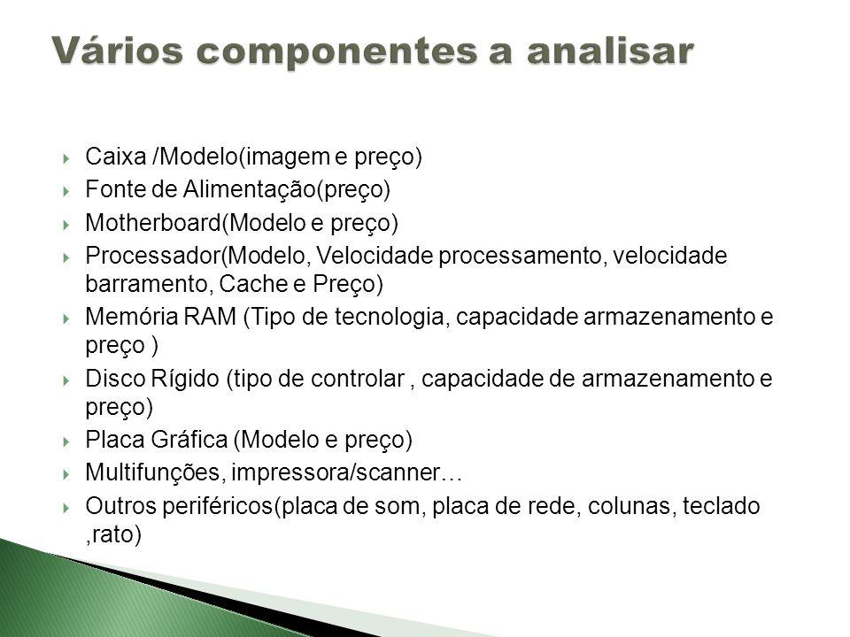 Vários componentes a analisar
